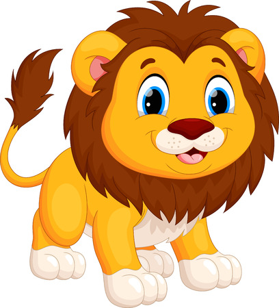 Cute lion cartoon Vettoriali
