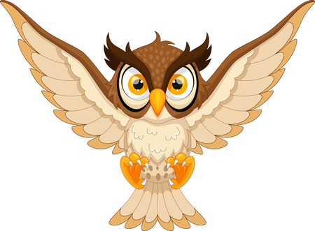 predators: Owl pounce cartoon Illustration