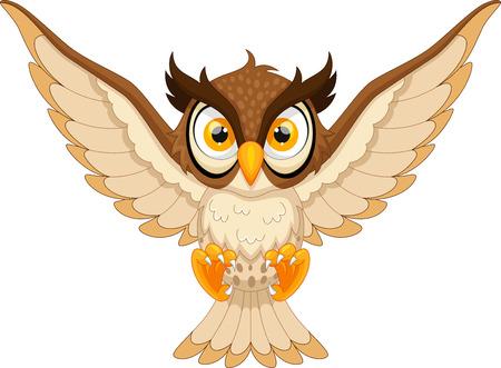 pounce: Owl pounce cartoon Illustration
