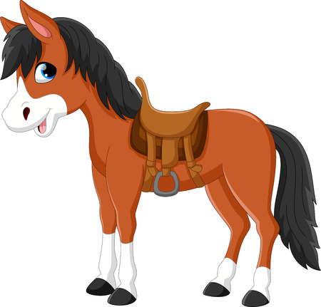 Illustration of a beautiful horse isolated on white background Stock Illustratie