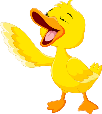 Cute duck laugh cartoon isolated on white background