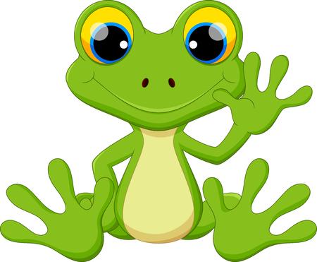 Cute frog cartoon sitting  イラスト・ベクター素材