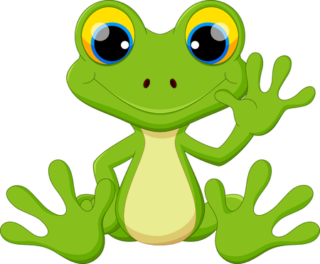 Cute frog cartoon sitting Vectores