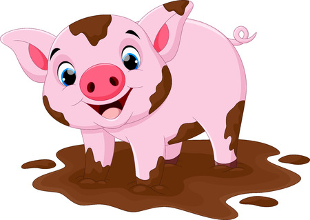 Cartoon pig play in a mud puddle Stock Illustratie