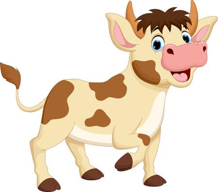 illustration of happy cow cartoon isolated on white background Illustration