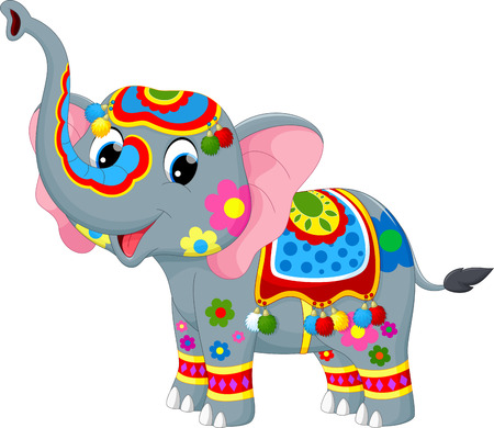 indian elephant: illustration of decoration elephant in Indian Illustration