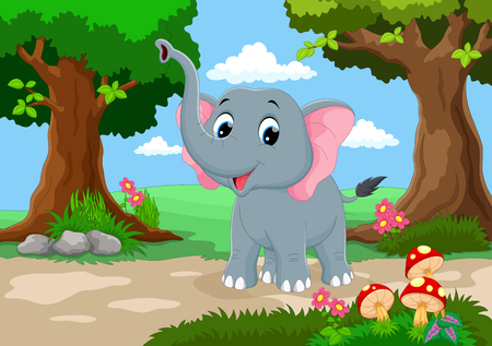 beautiful garden: Funny elephant with a background of a beautiful garden Illustration