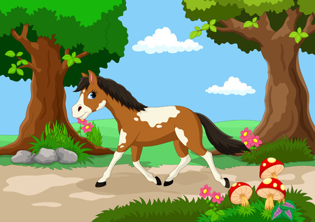 beautiful garden: Funny horse with a background of a beautiful garden