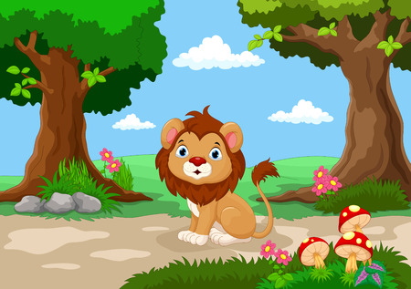 beautiful garden: Funny baby lion sitting with a background of a beautiful garden