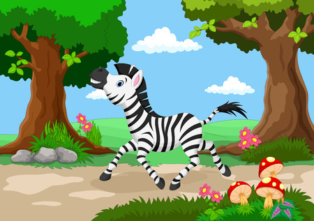 beautiful garden: Funny zebra with a background of a beautiful garden