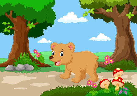 beautiful garden: Funny baby bear with a background of a beautiful garden Illustration