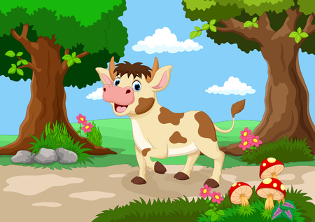 Funny cow with a background of a beautiful garden Illustration