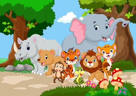 tigre caricatura: Caricatura de animal salvaje en un hermoso jardín