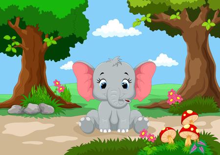 Funny olifant met een achtergrond van een prachtige tuin