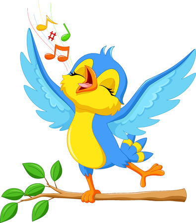 birdsong: Vector illustration of cute bird singing