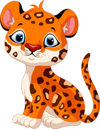 panthera pardus: Cute baby leopard cartoon sitting