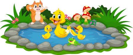 Mother duck and little ducklings swimming in the pond 向量圖像