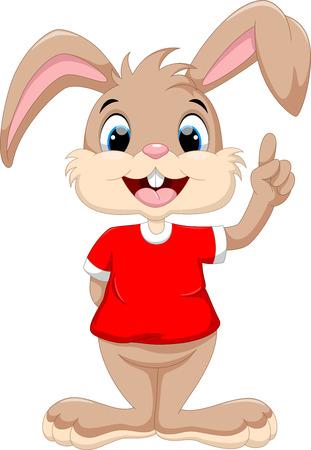 Cute rabbit raised index finger