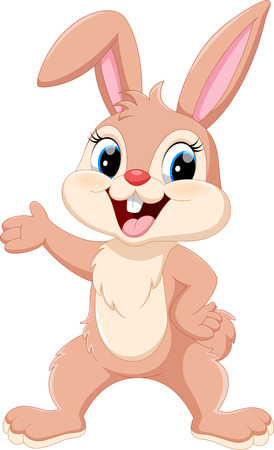 Cute rabbit cartoon waving hand