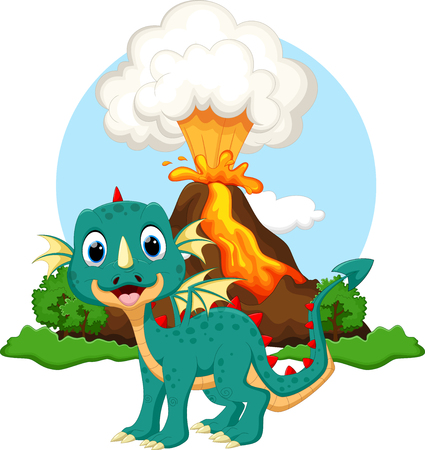 flying dragon: Cute dragon cartoon with volcano background Illustration