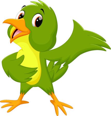 Green bird cartoon waving Illustration