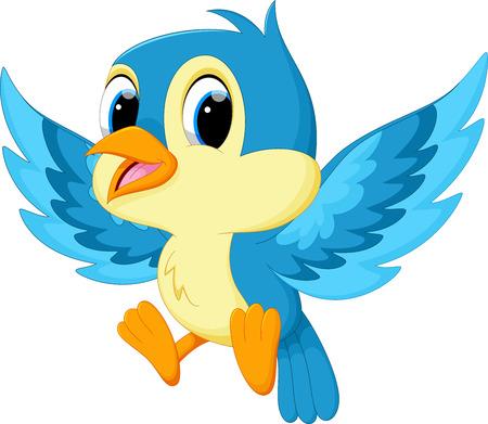 cute cartoon: Cute blue bird cartoon