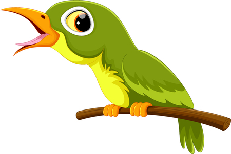 cartoon singing: Cute green bird cartoon singing Illustration