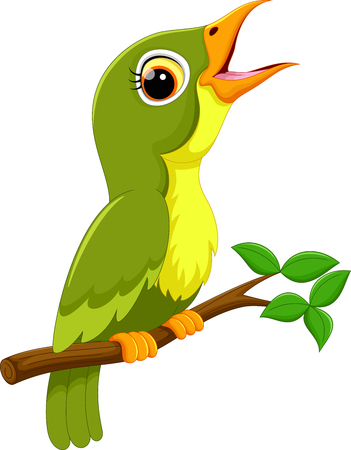 Cute green bird cartoon singing Illustration