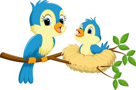 aves caricatura: Pájaro de la madre con los bebés Vectores