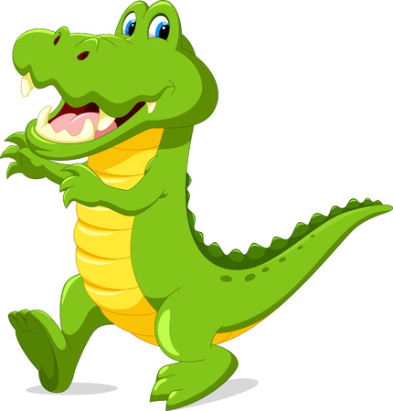Vector illustration of cute cartoon crocodile Illustration