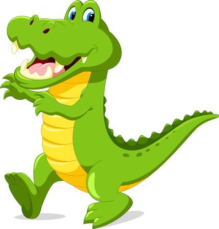 wave hello: Vector illustration of cute cartoon crocodile Illustration