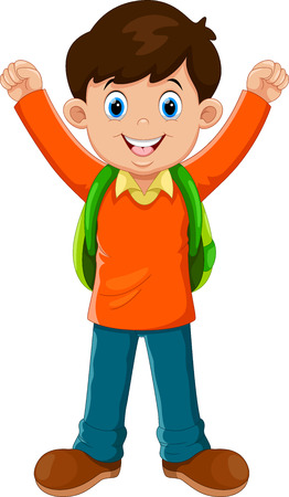 Vector illustration of cute boy go to school Иллюстрация