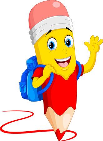 Vector illustration de bande dessinée mignonne crayons avec sac d'école