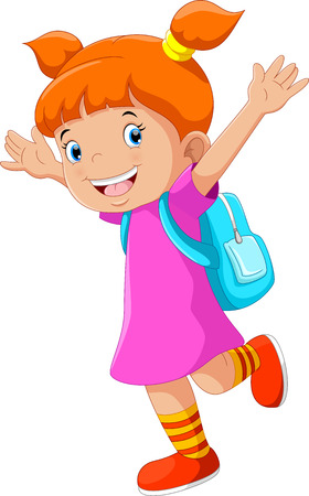 Vector illustration of happy little girl with a backpack going to school