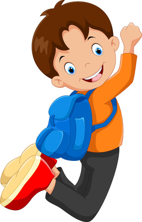 vector student: Vector illustration of happy school boy jump with backpack