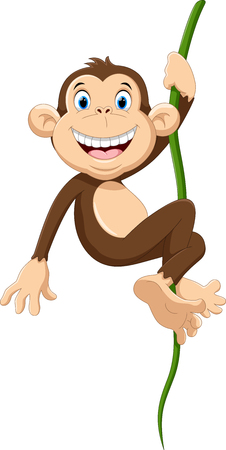 thumping: Vector illustration of cute monkey cartoon hanging