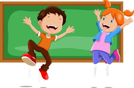 男の子と女の子が黒板の前でジャンプ