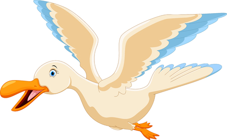 Vector illustration of cute flying duck cartoon isolated on white background Illustration