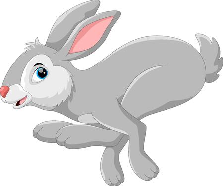 Conejo de dibujos animados lindo corriendo