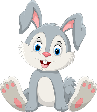 Cute little bunny cartoon sitting