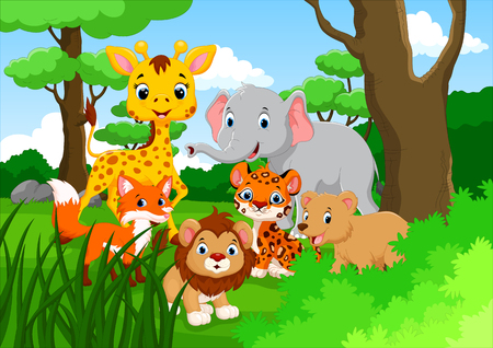 plant stand: Cartoon wild animal in the jungle