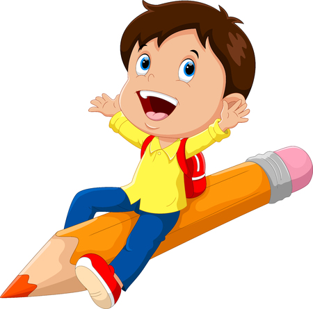 Happy school boy sitting on a pencil
