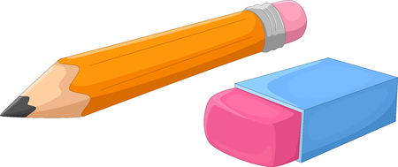Vector illustration of cartoon pencil and eraser