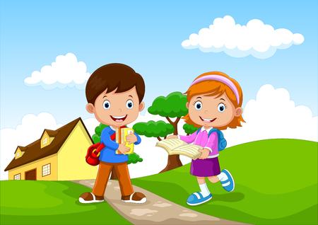 Les enfants de l'école heureuse vont à l'école Banque d'images - 85454286