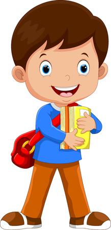Cute schoolboy walking with books
