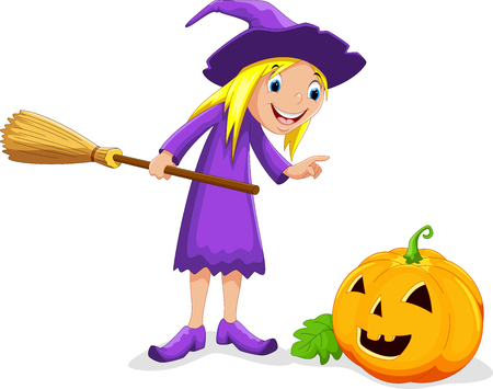 Vector illustration of cartoon witch and pumpkin isolated on white background