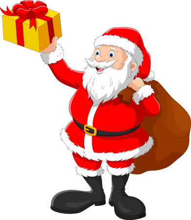 Cartoon illustration of Happy Santa with sack of gifts isolated on white background