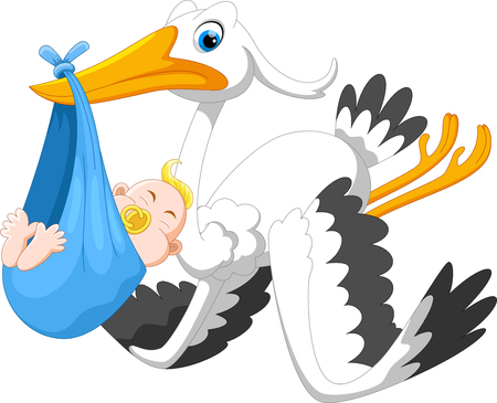 Cartoon illustration of cute stork carrying baby