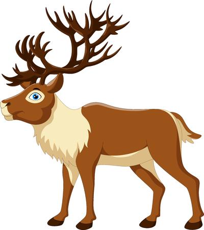 Cartoon illustration of reindeer isolated on white background Çizim