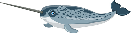 Cartoon illustration of narwhal isolated on white background